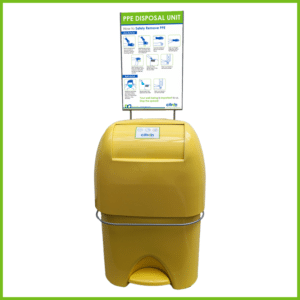 PPE Disposal Yellow Bambina unit with Stand and Label
