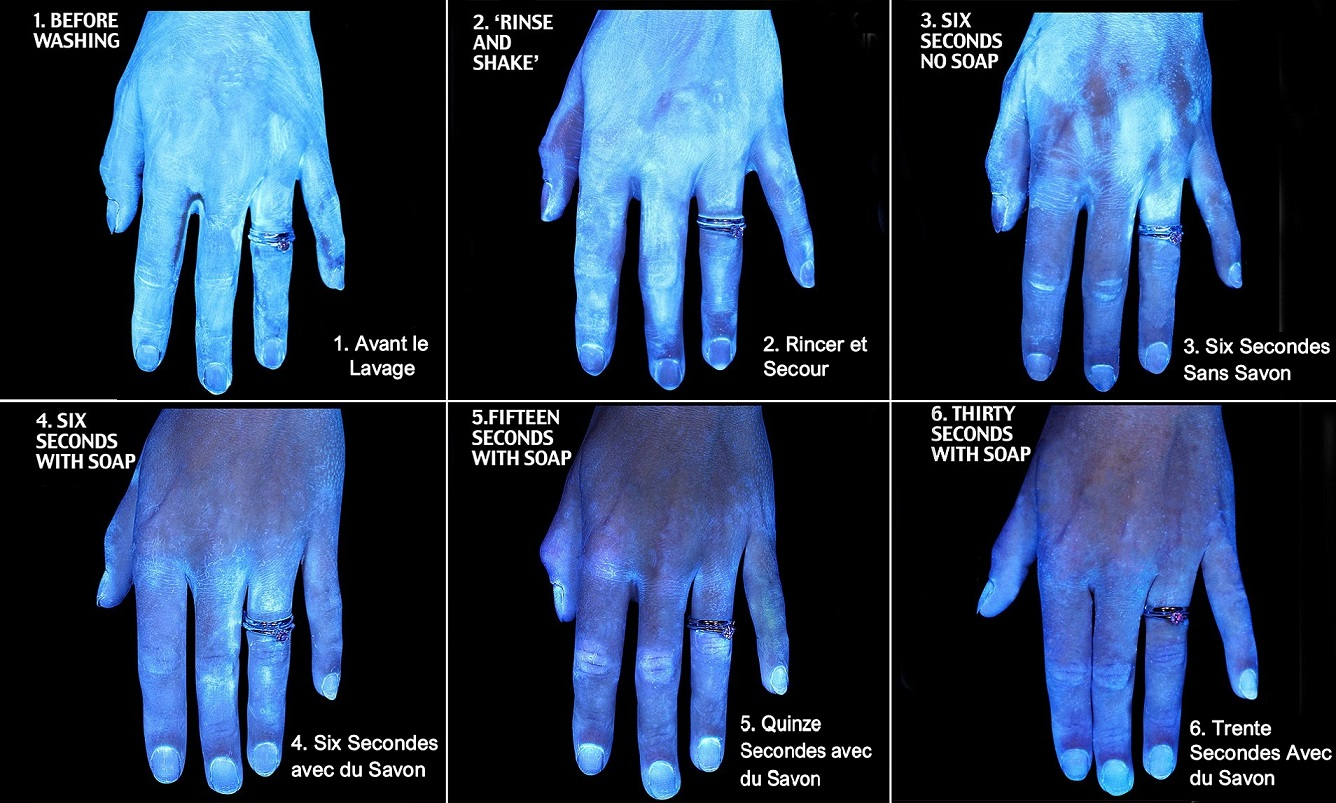 infographic showing hands before and after using soap