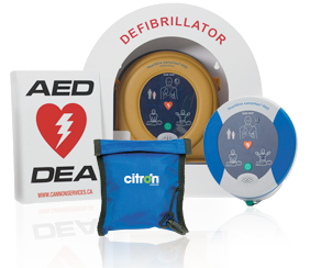Citron AED and defibrillator pack