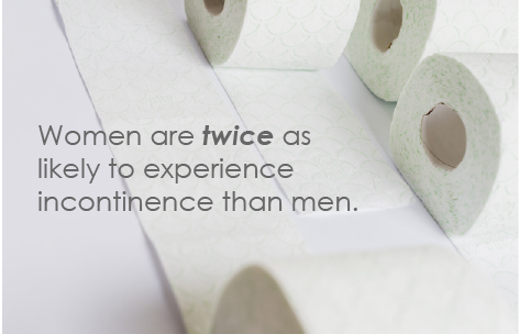 "image of toilet paper with caption ""women are twice as likely to experience incontinence than men"""