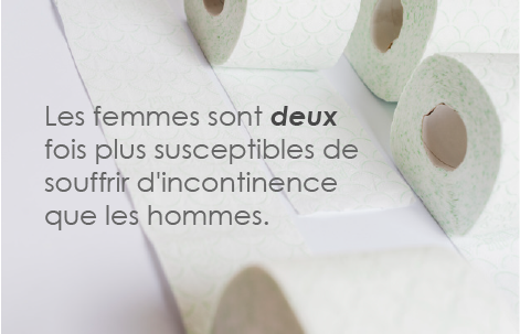 "image of toilet paper with caption in French ""women are twice as likely to experience incontinence than men"""