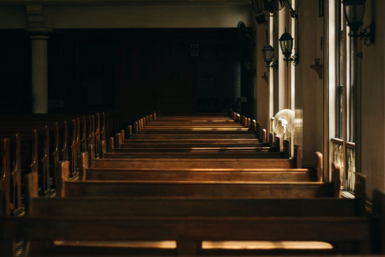 Wooden chairs in a Church