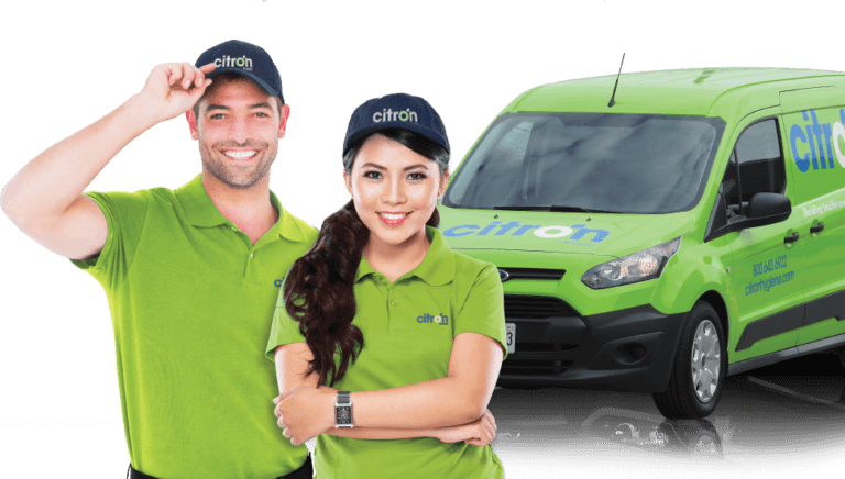 Citron staff in front of a Citron services van