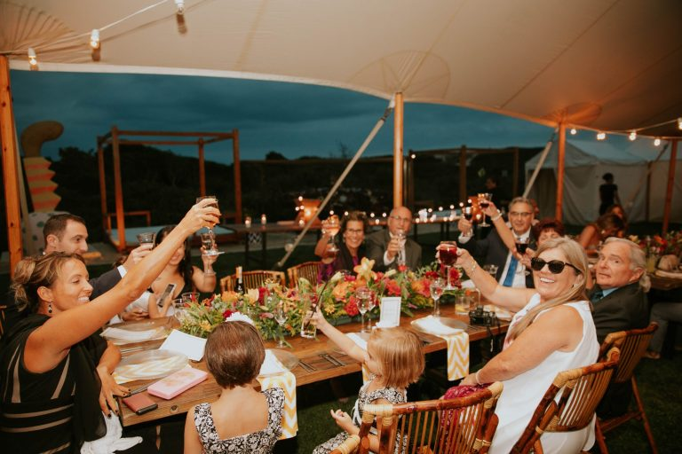 Large family raising a glass at an evening dinner