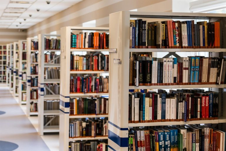 Row of books in college library